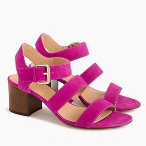 J. Crew Vibrant Fuchsia Suede Sandals